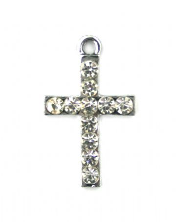 3pcs 15mm x 25mm Simple cross charm set in crystal